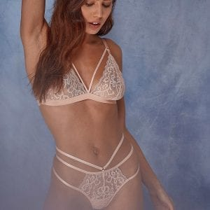Belle peach Lace bra and thong