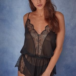 Black sheer lace short pyjamas