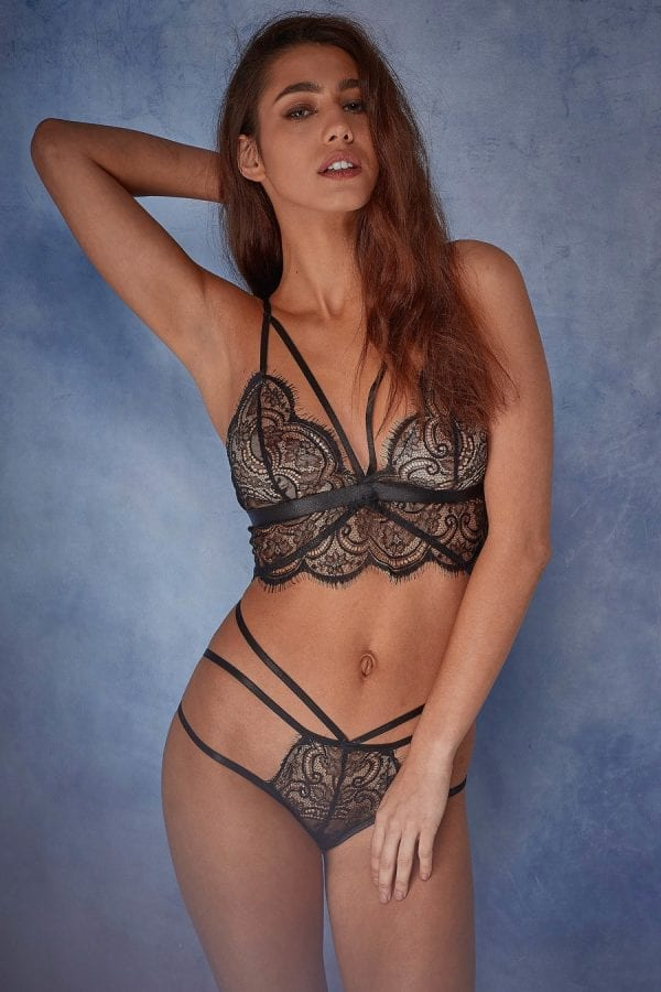 Black lace bra and brief