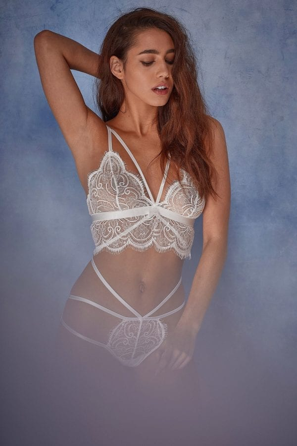 White lace bralette and brief