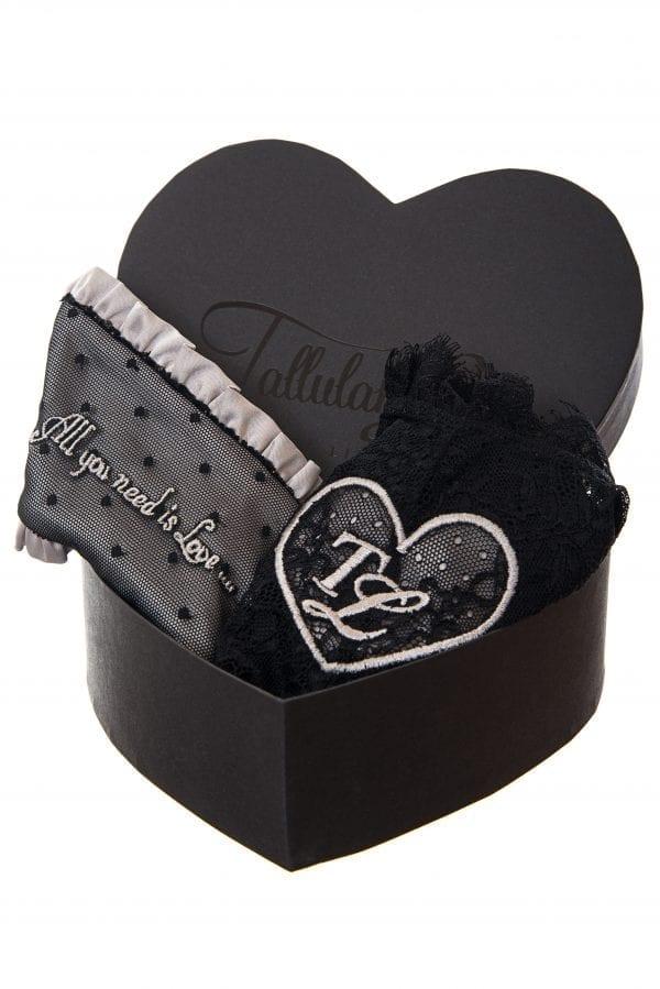black knicker and eye mask gift set