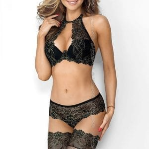 Bra and panty set in black and gold
