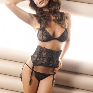 3 Piece lingerie set in black