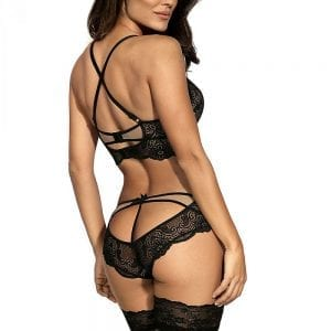 The Sensual Collection is here. This delicate, black lace thong has a unique design of both floral and geometric pattern. The lace nicely wraps across the hips with a shapely trim completed with a bow at the back. The matching push up bra is also available separately on the website.