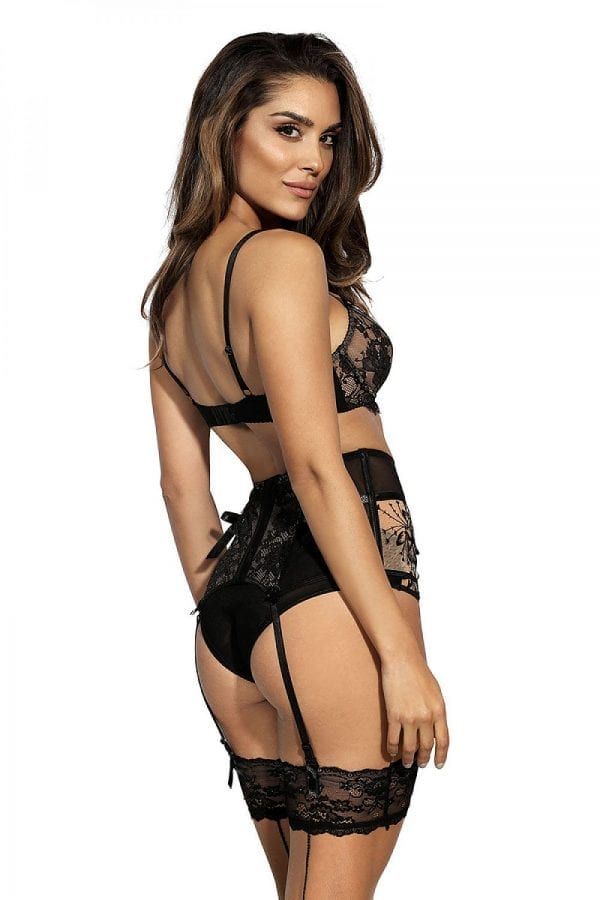 Black biege suspender belt