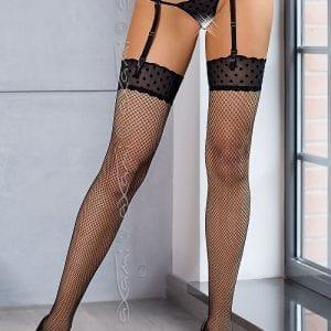 Black fishnet stockings with polka dot top