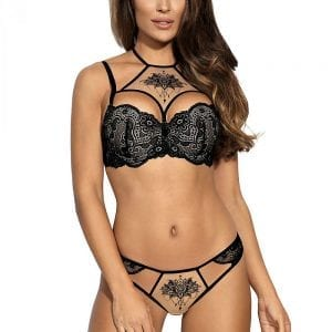 Black tattoo pattern lingerie set