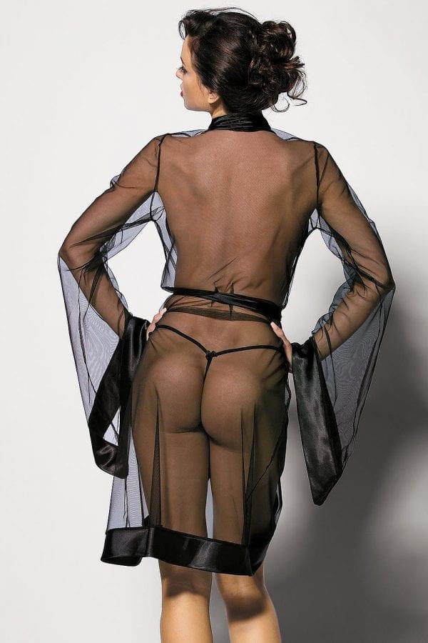 Black transparent peignoir