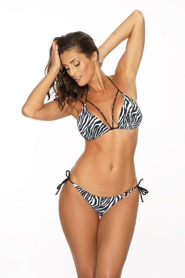 Black & White Striped Triangle Bikini