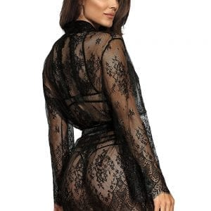 Dressing Gown Black Lace