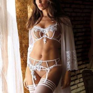 White Lingerie Set & Peignoir