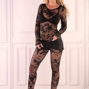 Black lace bodystocking