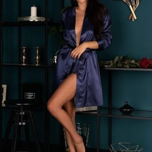 Blue Satin Dressing Gown
