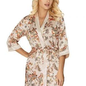 Beige Satin Flower Dressing Gown