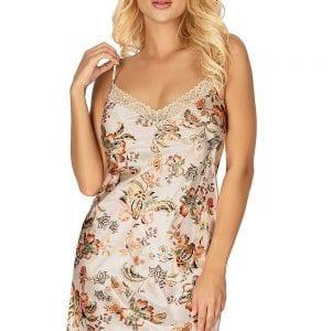 Beige Satin Flower Night Dress