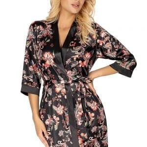Black Satin Flower Dressing Gown